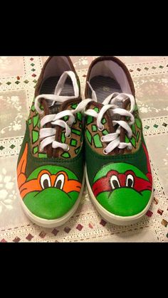 484b8d5e06 Teenage Mutant Ninja Turtles Hand Painted by SunflowerCraftShop.  ShoePaintingSupplies · Cartoon Characters Hand Painted Shoe Ideas
