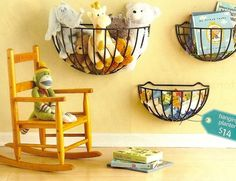 cute way to organize stuffed animals...I would paint the plant holder a different color...