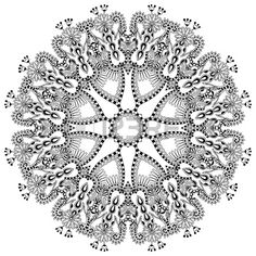 Circle lace ornament, round ornamental geometric doily pattern, black and white collection Stock Vector