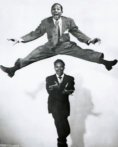 The Nicholas Brothers, dancing brothers Fayard & Harold. With their acrobatic technique (flash dancing), high level of artistry & daring innovations, they are two of the greatest tap dancers ever. They became stars during the Harlem Renaissance and went on to have successful careers on stage, film, & TV. Their signature moves include: leapfrogging with a split down a flight of stairs; dancing on a piano in a call & response act with the pianist; rising from a split without hands.