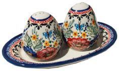 """Polish Pottery Salt and Pepper Shakers by Zaklady Ceramiczne """"Boleslawiec"""". $49.00. Each piece of Polish Stoneware is handmade and hand-painted.. Signed by Artist. Use: Polish Pottery is oven- dishwasher- stove- and microwave oven safe, lead and cadmium free, resistant to chip.. Dimensions: *Board: Height: 0.8"""" *Shakers: Height: 2.80"""". Origin: Boleslawiec, Poland. The Polish Pottery Salt and Pepper Shakers, in the Unikat Signature Patterns, are amazing pieces of Polish Ston..."""