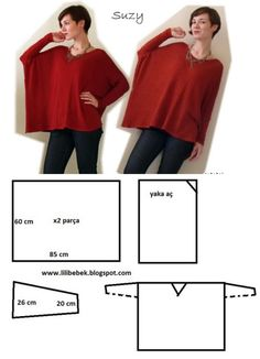 OUTBOX fashion DIY-free layout and cutting tutorials Pourquoi pas en gilet?Tutorial for Crochet, Knitting, Crafts.another easy top, with long sleeves instead!japanese clothing patterns in Fashion Sewing, Diy Fashion, Ideias Fashion, Diy Clothing, Sewing Clothes, Dress Sewing Patterns, Clothing Patterns, Sewing Hacks, Sewing Tutorials