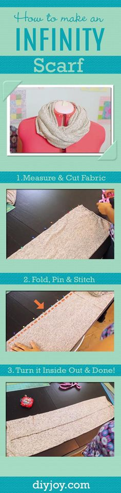 DIY Sewing Gift Ideas for Adults and Kids, Teens, Women, Men and Baby - How To Make An Infinity Scarf - Cute and Easy DIY Sewing Projects Make Awesome Presents for Mom, Dad, Husband, Boyfriend, Children http://diyjoy.com/diy-sewing-gift-ideas