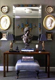 Sea Grass Wallpaper, Beveled Mirror, and Collected Objéct de Arte. Masculine Room.