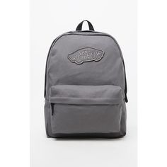 Vans Realm Gray School Backpack ($38) ❤ liked on Polyvore featuring bags, backpacks, vans backpack, rucksack bag, cotton bags, grey bag ve padded backpack