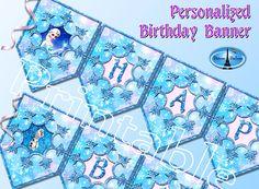 Banner, Frozen Party Decorations, Frozen Printable, Personalized, Frozen…