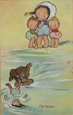 "Illustration de Mabel Lucie Attwell- ""The Rescue"" lifeguard swimming art dog doll toddler girl Vintage Children's Books, Vintage Cards, Vintage Postcards, Vintage Pictures, Vintage Images, Little Doll, Children's Book Illustration, Drawing For Kids, Graphic"