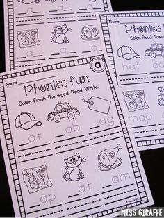 Phonics Cut and Paste Activities Set 1 NO PREP Printables for ...