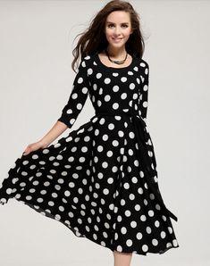 Polka Dots Maxi Dress Women Black Dress Bohemian Maxi dresses