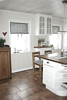 White Kitchen, Tile Floor In A Dark Color, Love The Wood Countertops