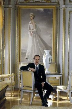 Prince Albert, in front of portrait of Princess Grace of Monaco