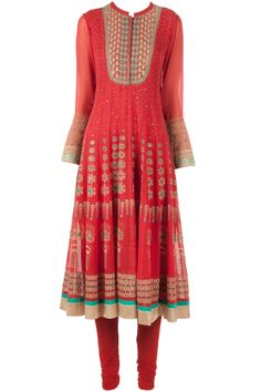 Coral red embroidered kurta set available only at Pernia's Pop-Up Shop.