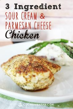 Dont have time to prepare a huge meal? Check out this delicious chicken breast recipe that only requires 3 ingredients. Chicken, Sour Cream  Parmesan cheese!