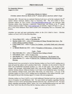 Media Updates - Christian Authors on Tour (CAOT): PRESS RELEASE - August 13, 2014