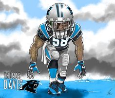 Thomas Davis - Carolina Panthers Cartoon Caricature Illustration