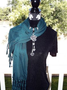 Teal Pendant Scarf and Earring Set Rose and Heart Charms Fashion Forward  Scarf Jewelry Set. $36.00, via Etsy.