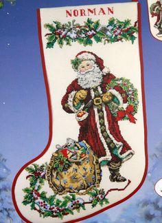 Victorian Santa Stocking Kit Counted Cross Stitch Spirit Xmas Candamar ccs vtg #CandamarDesigns #Christmasstocking