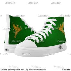 Golden yellow griffin on the green background. High-Top sneakers Golden Yellow, Green Backgrounds, Custom Sneakers, On Shoes, Converse Chuck Taylor, High Tops, High Top Sneakers, Your Style, Pairs