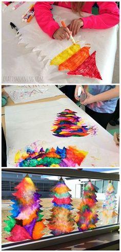 Coffee filter Christmas tree suncatcher craft for kids! | CraftyMorning.com