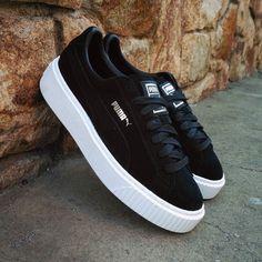 5a26654e4 Puma Suede Platform Black White Botas Zapatos
