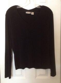 Chico's Travelers 1 Black V Neck Shirt Top Long Sleeve Stretch Knit s M USA EXC | eBay