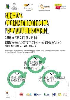 """Eco-day: giornata ecologica per adulti e bambini sabato 8 marzo presso la sede distaccata dell'Istituto comprensivo """"Stomeo Zimbalo"""" Scuola Primaria, via Carrara, #Lecce (Le)."""