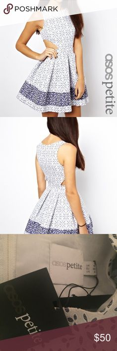Asos Blue & White Eyelet Skater Dress with cut out ASOS Skater Dress in Broderie Anglaise - White/blue / US 6 (fits a standard size small) ; never worn Asos Dresses Mini