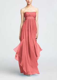 Strapless Crinkle Chiffon Dress with Godets Coral Reef