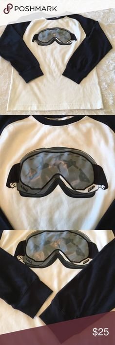 """🏂NEW GYMBOREE SIZE 10 BOY'S TEE🏂 🏂NEW GYMBOREE SIZE 10 BOY'S TEE-SKI BOARD MASK ON THE FRONT-OFF WHITE WITH DARK NAVY BLUE SLEEVES-SIZE 10-NEVER BEEN WORN-100% COTTON-FROM ARMHOLE TO ARMHOLE IS ABOUT 16""""-LENGTH IS ABOUT 22"""" Gymboree Shirts & Tops Tees - Long Sleeve"""