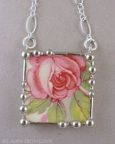 Necklace made from a broken china plate and sterling silver. Laura Beth Love, Dishfunctional Designs: