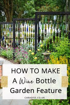 How to make an outdoor DIY wine bottle screen for your garden using recycled glass for a backyard feature. Get creative with your garden decor design with this awesome tutorial project to give you ideas and inspiration. Wine Bottle Fence, Wine Bottle Trees, Wine Bottle Crafts, Wine Bottles, Wine Corks, Backyard Trees, Backyard Landscaping, Backyard Pavilion, Recycled Glass Bottles