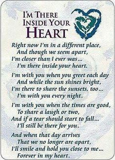 I'm There Inside Your Heart Prayer Cards - Pkg of 25 Miss Mom, Miss You Dad, I Will Miss You, The Words, Grief Poems, Be My Hero, After Life, My Guy, In This World