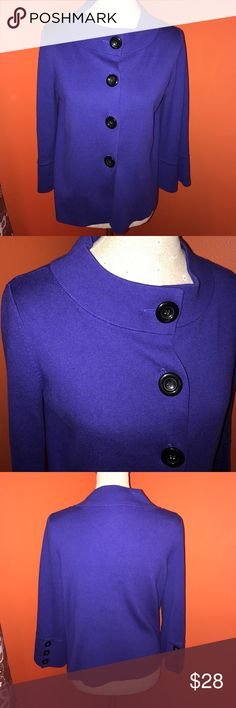 Royal~ANNE KLEIN~Big Button 3/4 Sleeve Cardigan M Perfect with black pants or skirt..great for work. As it\'s all business. Gently used. Anne Klein Sweaters Cardigans