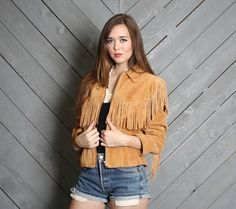 1980s FRINGE JACKET / Tiny Fit Cropped by luckyvintageseattle, $125.00