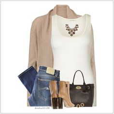 CHATA'S DAILY TIP: Update your classic white T-shirt and denim combination and instantly transform it into an elegant style with a soft, waterfall cardigan. Add tan boots, with on-trend block heels, and rich chocolate brown and gold accessories. COPY CREDIT: Chata Romano Image Consultant, Karyn Lindes http://chataromano.com/consultant/karyn-lindes/ IMAGE CREDIT: Pinterest #chataromano #imageconsultant #colour #style #fashion