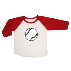 Mashed Clothing - Baseball / Softball - Baby Infant 3/4 Sleeve Raglan Baseball Shirt (White/Red 12-18 Months)