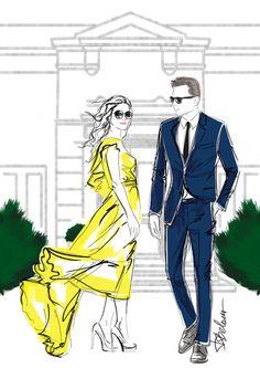 Illustration by Dasha Belova, www.dashabelova.com, movie stars, fashion illustration, red carpet, yellow dress, blue suit.