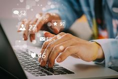 Social media and Marketing virtual icons screen concept.close up of businessman typing keyboard with laptop computer on wooden desk in modern office , Marketing Online, Marketing Goals, Social Media Marketing, Digital Marketing, Business Marketing, Affiliate Marketing, Internet Marketing, Social Media Roi, Social Media Company