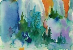 Signed original abstract watercolor measures 6' x by ARTEQUALSJOY