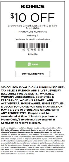 16c97d6e Kohl's Coupon: Extra $10 Off $50 Select Women's & Home Purchase Store  Coupons,