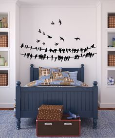 This darling decal set adds interest to a delightfully decorated bedroom or playroom. High-grade vinyl construction with a matte finish is modern and clean, and the flock of bitty birds is perfectly playful. All it takes is a squeegee and a pinch of patience to make these decals look like they were professionally applied.Wires: 72'' W x 17'' HFlying birds...