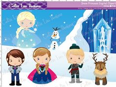 Snow Princess Clipart(P008), Frozen clip art for Personal and Commercial /Card Design/Scrapbooking/Web Design/INSTANT DOWNLOAD