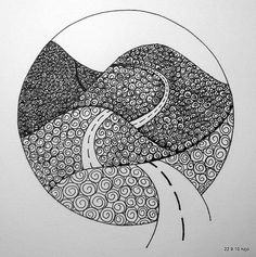 cool zentangle..taking a road just to see where it ends...LOVE doing that!