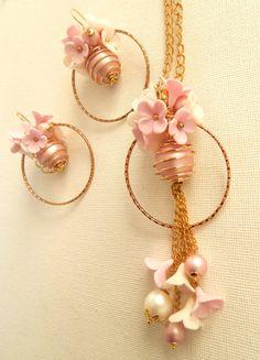 Joyería de la flor - rosado romántico - arracadas polímero Sistema hecho a mano