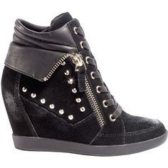 GUESS Hitzo Wedge Sneakers ($90) ❤ liked on Polyvore featuring shoes, sneakers, wedges, chaussures, black suede, wedges shoes, black hidden wedge sneakers, black shoes, black suede shoes and guess sneakers