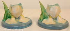 Roseville Pottery Iris Blue Candle Holders 1134-2 from Just Art Pottery