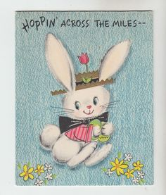 Vintage White Bunny with Hat Easter Greeting Card