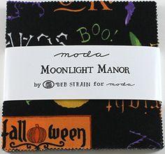 Moda Moonlight Manor Halloween Charm Pack, Set of 42 Precut Cotton Fabric Squares Halloween Fabric, Charm Pack, Fabric Squares, Amazon Art, Sewing Stores, Moonlight, Sewing Crafts, Cotton Fabric, Fabrics