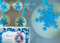 Frozen Theme Cake Pops White Chocolate with chocolate fudge filling Blue snowflake detail Frozen theme part Food Visit our website www.dessertbuffets.com.au for more images. This buffet is $570 complete! http://dessertbuffets.wix.com/dessert-buffets-#!frozen-buffet/c1lll  Dessert Buffets Sydney Candy Buffets Sydney | Frozen Buffet