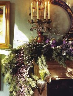 Pine bough garlands are worked up with dried berries, pearl-and-amethyst batons, mercury-glass ornaments and satin bows by British designer William Yeoward. Ribbons and decor were purchased at the English passementerie house VV Rouleaux, which provides a handy online how-to for two simple Christmas bows.